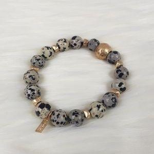 Dalmatian Jasper Stone Stretch Bracelet